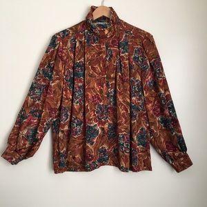 Vintage Silky Strong Shoulder Blouse Button Up